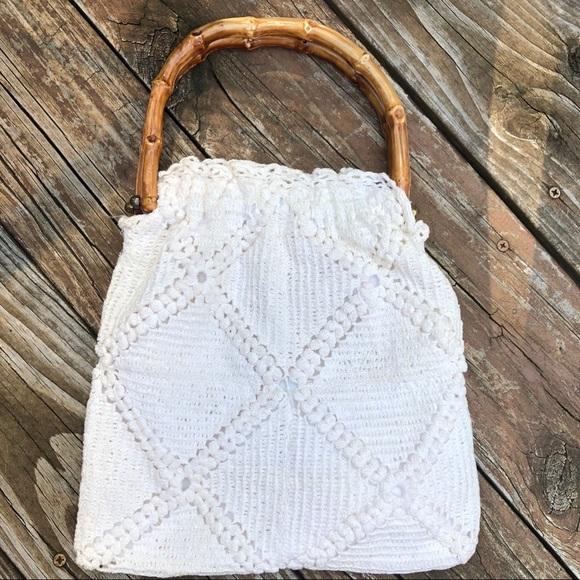 Vintage Bags White Crochet Bag Boho Bamboo Handles Poshmark